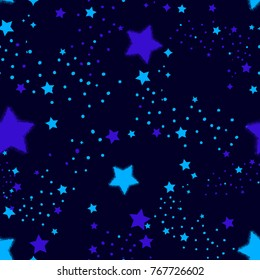 Night sky seamless pattern with little stars and dots in monochrome blue colors. Cosmic repeated backdrop for child, textile, clothes, wrapping paper. Magic wallpaper. decorative Galaxy background