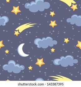 Night sky seamless pattern in vector