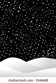 night sky with a snow flurry on a black background