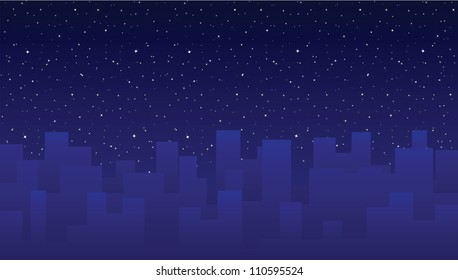 Night sky with stars and city buildings, vector illustration