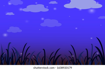 The night sky and the stars and grass