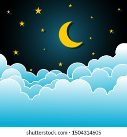 night sky with stars and moon. paper art style.Vector of a crescent moon with stars on a cloudy night sky. Moon and stars background.