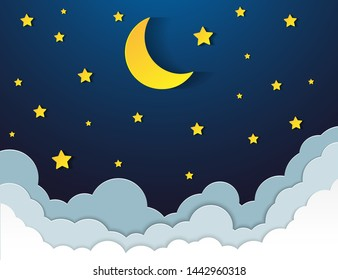 night sky with stars and moon. Vector EPS 10.