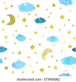 Night sky with stars, moons and clouds seamless pattern.