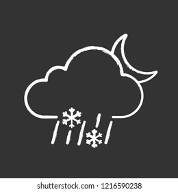 Night sleet chalk icon. Wet snow. Mixed snow and rain. Cloud, raindrops, snowflake, moon. Weather forecast. Isolated vector chalkboard illustration