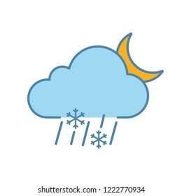 Night sleet color icon. Wet snow. Mixed snow and rain. Cloud, raindrops, snowflake, moon. Weather forecast. Isolated vector illustration