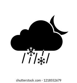 Night sleet glyph icon. Wet snow. Mixed snow and rain. Cloud, raindrops, snowflake, moon. Weather forecast. Silhouette symbol. Negative space. Vector isolated illustration