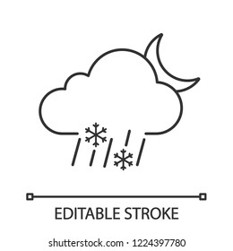 Night sleet linear icon. Wet snow. Thin line illustration. Mixed snow and rain. Cloud, raindrops, snowflake, moon. Weather forecast. Contour symbol. Vector isolated outline drawing. Editable stroke