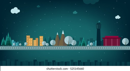 Night, snowy city. Houses, mountains, trees. In the snow. Vector illustration  flat