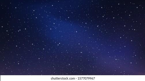 Nachts Sternenhimmel, blauer leuchtender Raum. Abstrakter Hintergrund mit Sternen, Kosmos. Vektorgrafik für Banner, Broschüren, Webdesign