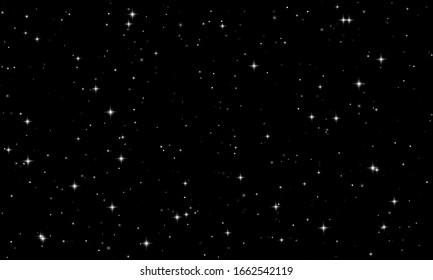 Night starry sky with bright stars. Vector stars on dark black background