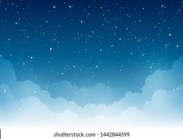 Nachts Sternenhimmel mit Wolken für Ihr Design