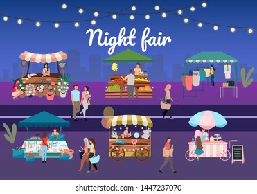Night street fair flat vector illustration. Outdoor market stalls, summer trade tents with sellers and buyers. Flowers, farmers food and products, clothes city kiosks. Local urban shops with lettering