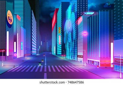 Night street with neon lights and holographic projections.concept of a city of the future