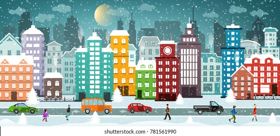 Night Street of the winter city with houses covered with snow, cars, walking people. Winter cityscape. Christmas and new year holidays.