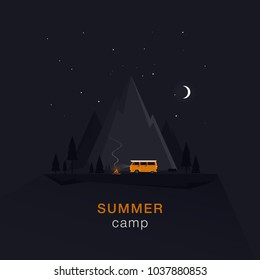 Night summer camping in the mountains by car by the fire.