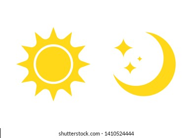Night symbol of the moon with stars and sun, vector on white background.