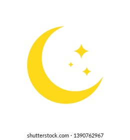 Night symbol of the moon with stars, vector on white background.