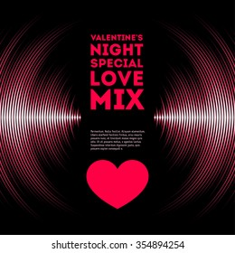 Night themed Valentine's Day card with pink vinyl tracks and red heart
