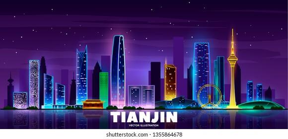 Night Tianjin skyline.Vector modern night megapolis. Urban skyscrapers in neon colors.