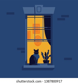 Night time concept illustration with lit up urban city apartment window and a silhouette of serious overlooking black cat sitting on windowsill next to a plant with abstract interior on background