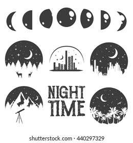 Night time concept labels and emblems in monochrome vintage style. Design elements, icons, logo. City at night.