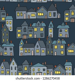 Night town homes vector illustration - seamless pattern.