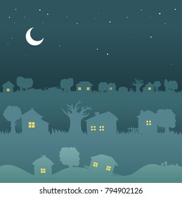 Night town landscape - seamless houses design, city pattern. Sweet home windows background