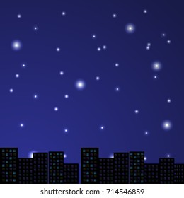 Night in the town. Vector illustration.