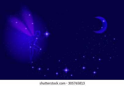 Night transparent fairy with moon and shiny star sparcle, night dream, vector