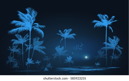 Night Tropical background with palm trees in moonlight