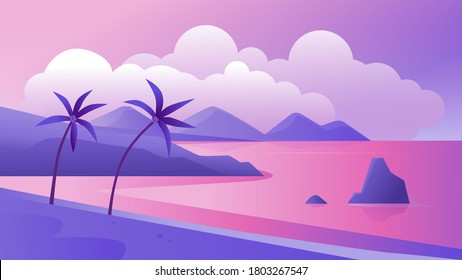 Night tropical coast landscape vector illustration. Cartoon flat tropics purple romantic panoramic scenery with evening beach, palm trees and sea, exotic paradise island coastline scene background