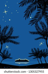 Night tropical landscape with palms silhouettes and cruise ship on a horizon. Retro style drawing.