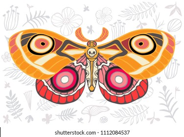 Night tropical moths hawkmoth on floral background, butterfly vector insect, vintage style, wings, flowers, skull, leaves. Hand drawn vector illustration.