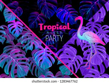 Night tropical party ivitation. Exotic plants and palm leaves  with flamingo in neon, fluorescent colors. Vector illustration.