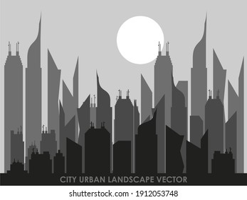 Night urban city vector with moon silhouette