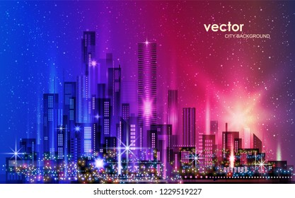 Night urban landscape. illustration with architecture, skyscrapers, megapolis, buildings downtown