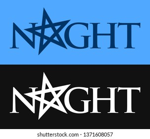 Night, Vector symbol of Phrase with pentagram in EPS10. Logo with mood of gothic, night and dark.