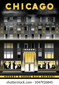Night view of Chicago, USA. Handmade drawing vector illustration. Art Deco style.
