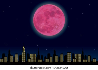 Night view of the city and illustration of strawberry moon (full moon)  | super moon vector data background illustration