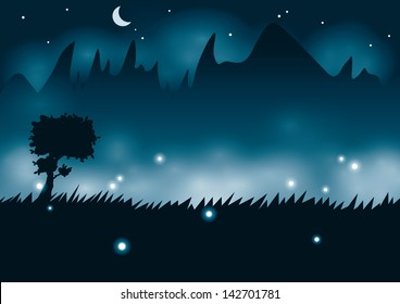 Night view with tree silhouette on mountain background and fireflies, EPS 10