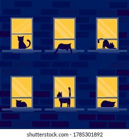 Night window with silhouette vector illustration cartoon flat design modern style