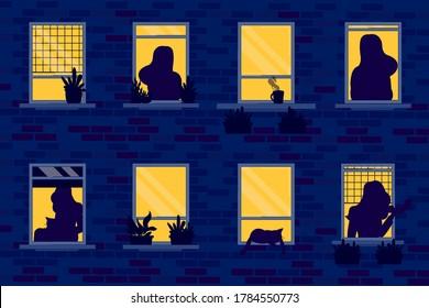 Night windows set with silhouettes vector illustration cartoon flat design modern style