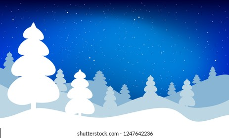 Night winter landscape. Vector background in 16:9 aspect ratio
