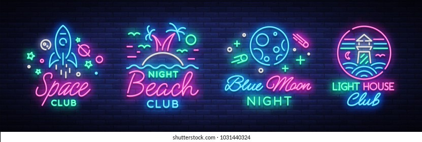 Nightclub set of neon signs. Logo Collection in Neon Style, Symbol. Lighthouse, Beach, Space. Design a template for a nightclub, Night party advertising, discos, celebrations. Vector illustration