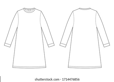 Nightdress technical sketch. Cotton chemise for woman. Nightdress vector illustration. Back and front view.  Design for packaging, fashion catalog