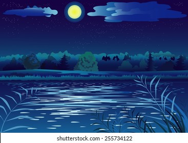 Nightly landscape with full moon