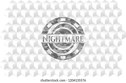Nightmare grey badge with geometric cube white background