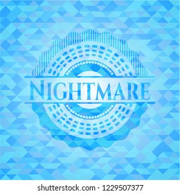 Nightmare light blue emblem with triangle mosaic background