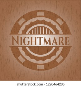 Nightmare retro style wooden emblem